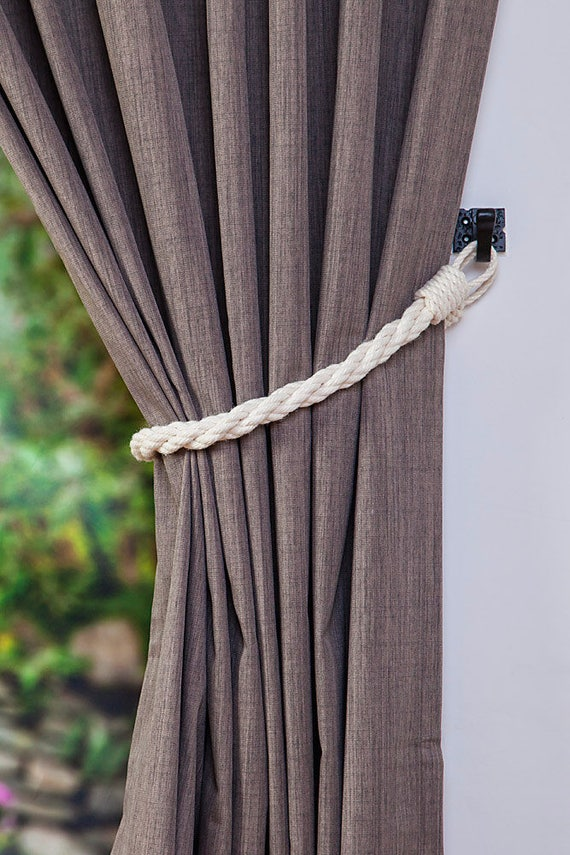 cotton rope twist white curtain tie backs nautical curtain. Black Bedroom Furniture Sets. Home Design Ideas