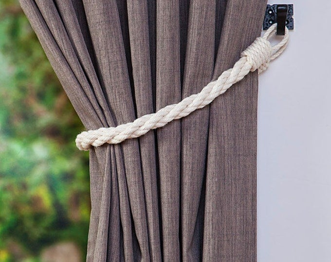 Cotton Rope Twist White Curtain Tie-backs/ Nautical curtain hold-backs/ shabby chic living room/ window treatment/ white rope tiebacks