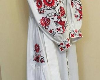 Embroidered Dress Vyshyvanka dress Linen Ukrainian embroidery Boho ethnic dress vyshyvanka in Vita-Boho-Style, embroidered Ukraine dress