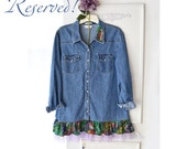 Reserved - Boho denim shirt with vintage Carole Little and tulle flounce,  festival top Upcycled recycled, country chic