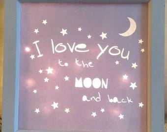 Nursery light. Love you to the moon and back. Nursery decor. Light up box frame.