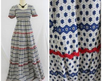 Vintage 60's 70's DENISE ARE HERE Smocked Cotton Ethnic Boho Maxi Dress