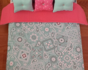 "Handmade -6-PC-bedding set Aqua Bandana inspired for American girl doll or any 18""  dolls bed"