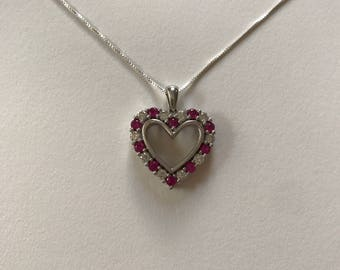 Pink and White Cubic Zirconia Open Heart 925 Sterling Silver Pendant Necklace