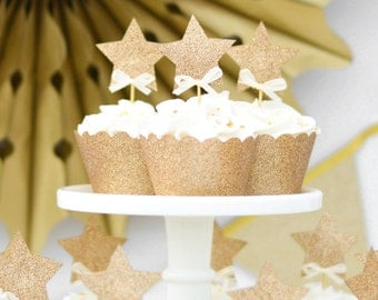 24pc Star Cupcake Toppers DOUBLE SIDED with bows.  Twinkle twinkle little star cupcake toppers. Gold star cupcake toppers with bow.