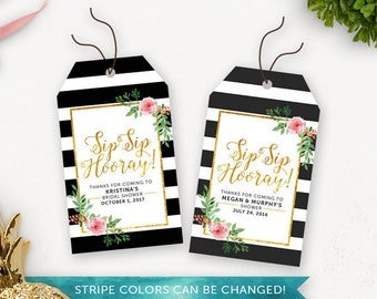 Floral Bridal Shower Printable Thank You Tags / Sip Sip Hooray Bridal Shower Favour Tags / Gold Thank You Tags Printable / Shower Favors