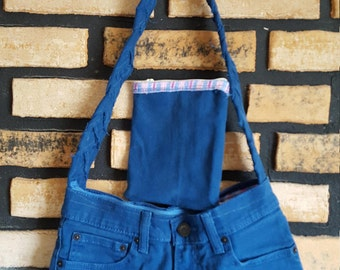 Denim and Plaid Pants Purse with braided Handle