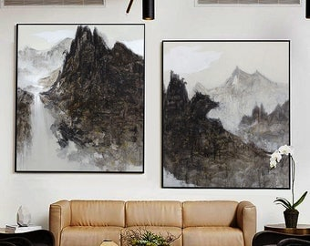 Abstract Painting, Contemporary Art, Hand Painted Large painting, extra large wall art, Landscape, black white, large canvas art. wall art