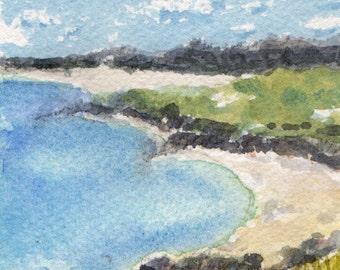 Australian Beach, Miniature Watercolour Painting, Original Artwork