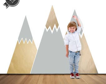 Mountain Wall Decal // Matte Vinyl Wall Sticker // Geometric Pattern // Nursery Decoration // Mountains  Removable Stickers