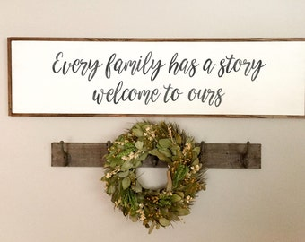 Every Family Has a Story Welcome to Ours | Gallery Wall | Welcome To Ours Sign | Home Decor