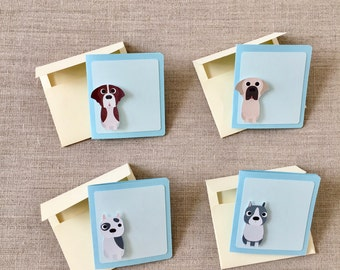 50% OFF CLEARANCE SALE !!!    Set of 4 Sitting Dog Mini Blank Cards with 4 Envelops - Blank Cards - Greeting Card  (was 4.30)