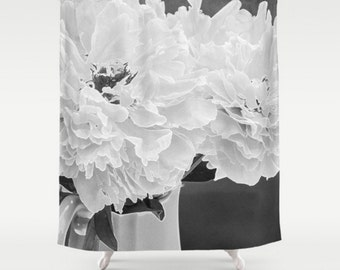 Black and White Shower Curtain, Peony Shower Curtain, Floral Bathroom Decor, Gray Bath Set, Floral Shower Curtain, White Flower Bath Mat