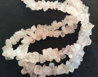Necklace, rose quartz