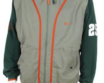 Vintage 90s Nike Swoosh Hooded Jacket/Vest Big Logo Spell Color Block Green/Orange Size L