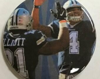 "DALLAS COWBOY *  Dak Prescott & Zeke Elliott - 2.25"" Button -  Magnet - or Mirror - NFL Cowboy Souvenir - N.F.C. East Champions!"