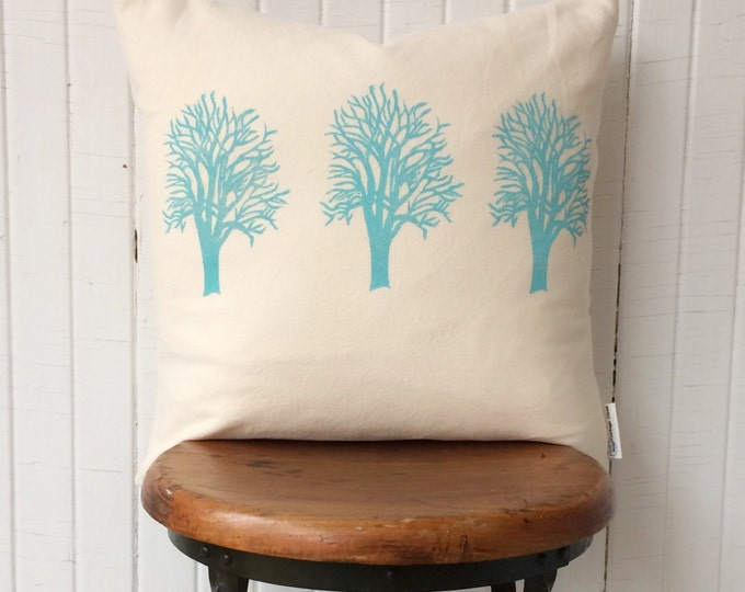 organic cotton canvas pillow cover handprinted trees turquoise decor lake house decor lodge decor accent pillow nature lover gift cabin host