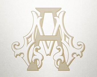 Wedding Invitation Monogram - AM MA - Invitation Monogram - Digital
