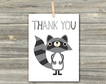 Raccoon Card, DIGITAL CARD, Tnank You Cards, Forest Party Cards, Download Greeting Card, Blank Card For Friends, Instant Download