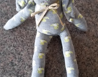 Loveable Handmade Long Eared Sock Bunny Rabbit with chick design