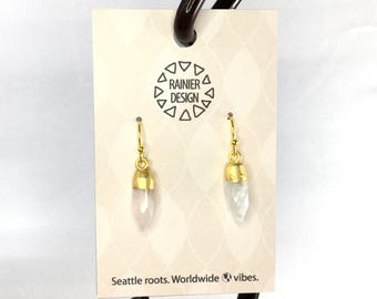 """Moonstone """"Bullet"""" Tiny Crystal Point Edgy Gold Spike Drop Hook Earrings - Dainty Minimalist Dangle Natural Faceted Semiprecious Gemstones"""