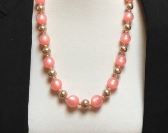 """Light  Pink Satin and Blush Bead Necklace 24"""" adjustable"""