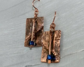 Fold formed hammered textured copper organic rectangle earrings with blue bead