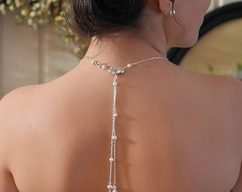Bridal back jewelry, silver plated chain, freshwater pearls and Swarovski crystal,