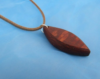 Snakewood Pendant Suede Necklace - 18 Inch