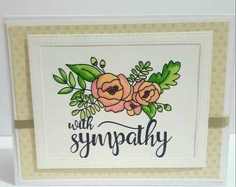 With Sympathy, Floral Card, Handmade Sympathy Card, Sympathy Greeting Card