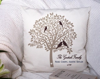 Family Tree Pillow - Custom Throw Pillow - Family Name Pillow - Anniversary Pillow - Gift for Family - Anniversary Gift - Couch Pillow