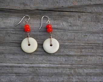 Bone and Coral Earrings