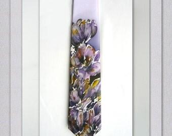 Silk Necktie Hand Painted Mens tie Purple Flowers Mens Neckties Groom tie Silk Satin tie Mens Gifts Handpainted Tie Valentines gift for him