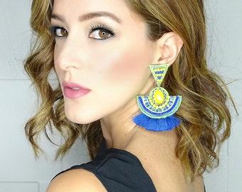 Neon Tassel Earrings, Bohemian Earrings, Wholesale Earrings, Boho Jewelry, Threader earring, Boho Ethnic Earrings, Neon Jewelry, Boho-Chic