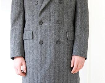 Vintage Men's Tweed Overcoat,  Wool Winter Overcoat, Man Wool Coat, Designer Men's Coat, Wool Tweed Winter Coat, Blue Grey Winter Coat