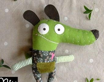 Green Stuffed dog, fabric dog, children gift, baby gift, stuffed animal. Puppy Stuffed Animal, Dog Plush, handmade funny dog. Textile dog.