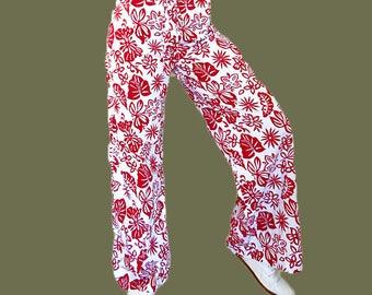 Womens vintage pantaloni floreale spiaggia pantaloni estate pantaloni donne womens pantaloni retrò rosso gamba larga pantaloni donna vintage 1990s taglia M noi 8-10