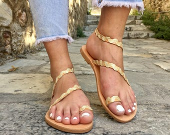 Gold Sandals, Leather Sandals, Greek Sandals, Gladiator Sandals, Strappy Sandals, Made In Greece by Christina Christi Jewels.