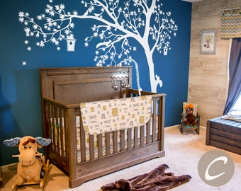 Temporary Huge White tree Wall Decal Nursery Tree Birds with birdhouse and squirrels Wall Sticker Wall decor AM002