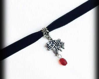 Gothic Vampire Choker, Bite Me, Black Velvet Choker Necklace,  Blood Red Glass Bead, Handmade Jewelry, Gothic Gift For Her, Alternative