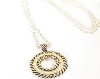 Silver and gold round pendant necklace