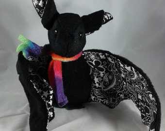 Black Chalkboard Doodles Bat Plush