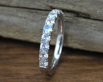 Moonstone Eternity Band, Eternity Wedding Band, Moonstone Wedding Ring, Moonstone Wedding Band, Moonstone Engagement Ring, Promise Ring