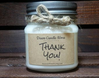 8oz Thank You Gift - Soy Candles Handmade - Personalized Candles - Mason Jar Candles - Teacher Gifts - Coworker Gifts - Hostess Gift
