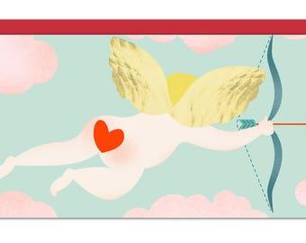 Cupid's Arrow Long 4 x 9 For the Sake of Love Greeting Card, Anniversary Card, Wedding Card