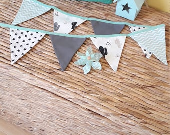 Garland of pennants, white, black, mint Green