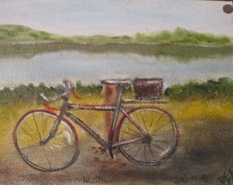 Bike Post. Unique original oil on canvas 5 x 7 , mounted on 10 x 10 wood panel palette. Bicycle art. Wall art. Home decor.