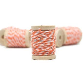 Bakers Twine, 20 yards, Mini spools, Orange Bakers Twine, Set of 2, Wooden Spools
