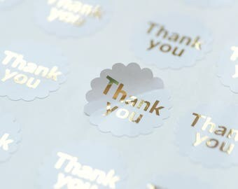 24 Thank You Stickers, Gold Foil, Product Packaging, Envelope Seals,Scallop Stickers,Address Labels,Packaging Stickers,Shipping Stickers
