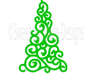 Christmas Tree Swirl Monogram SVG Instant Download Design For Cricut Or  Silhouette